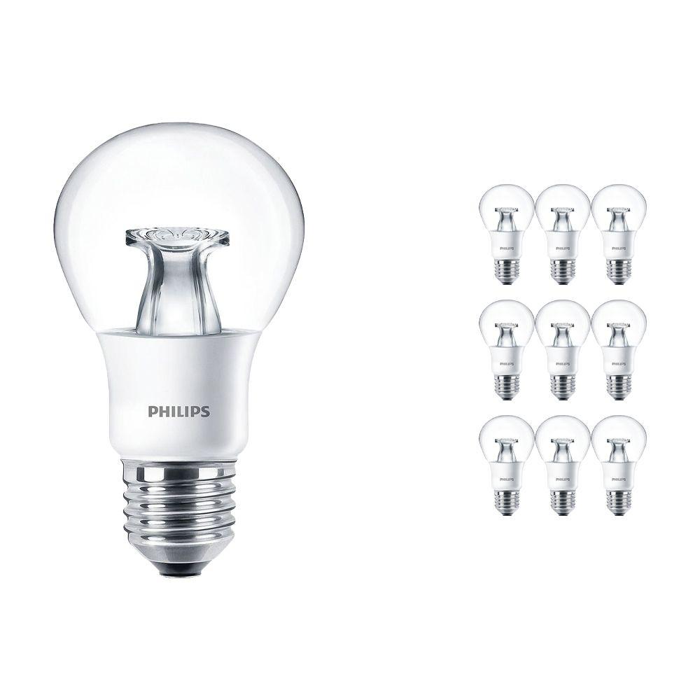 Mehrfachpackung 10x Philips LEDbulb E27 A60 6W 827 Klar (MASTER)   DimTone Dimmbar - Ersatz für 40W