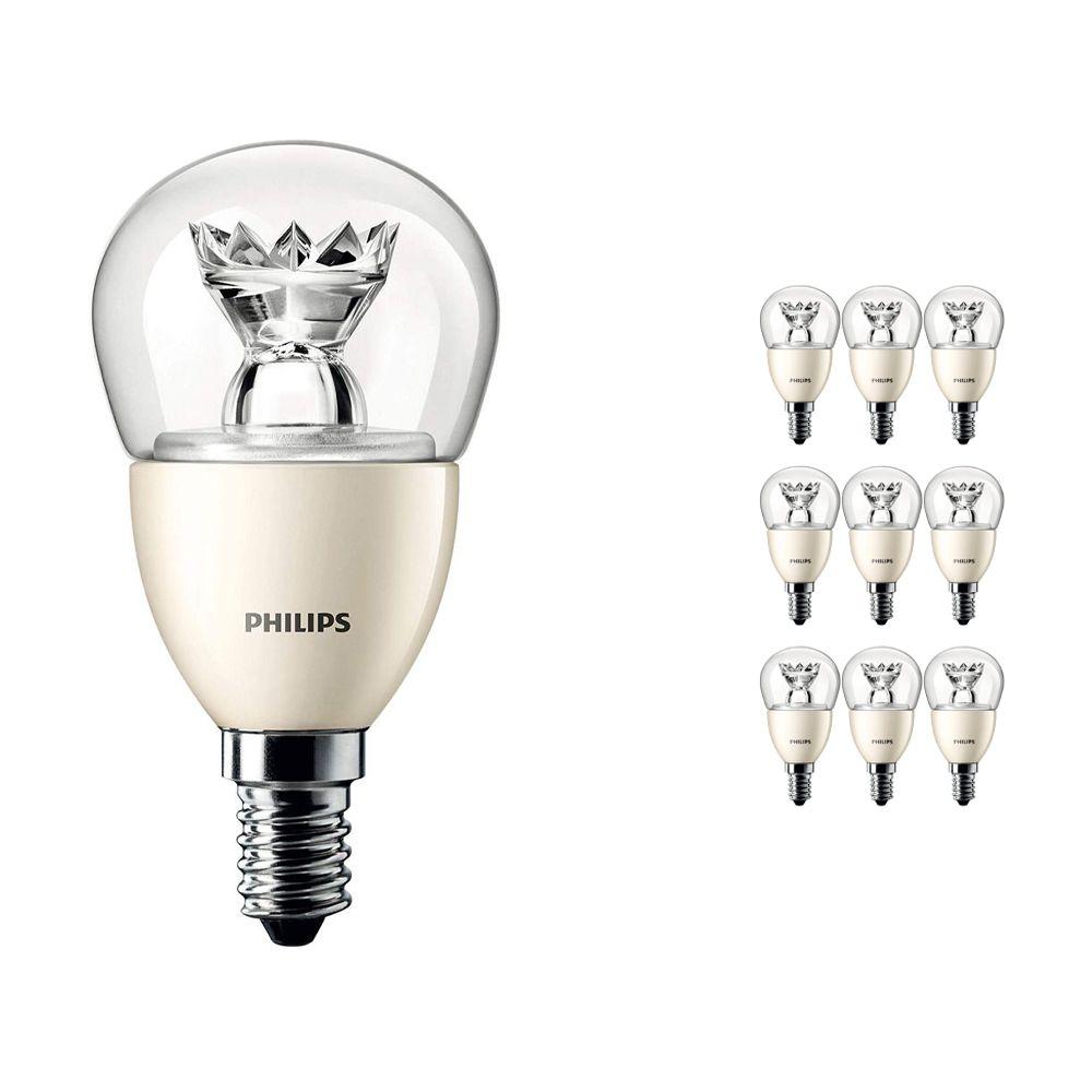 Mehrfachpackung 10x Philips LEDluster E14 P48 6W 827 Klar (MASTER)   DimTone Dimmbar - Ersatz für 40W