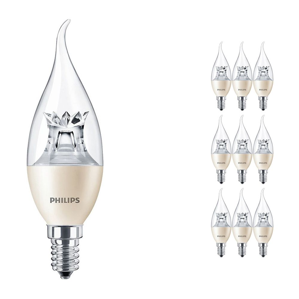 Mehrfachpackung 10x Philips LEDcandle E14 BA38 6W 827 (MASTER) | DimTone Dimmbar - Ersatz für 40W