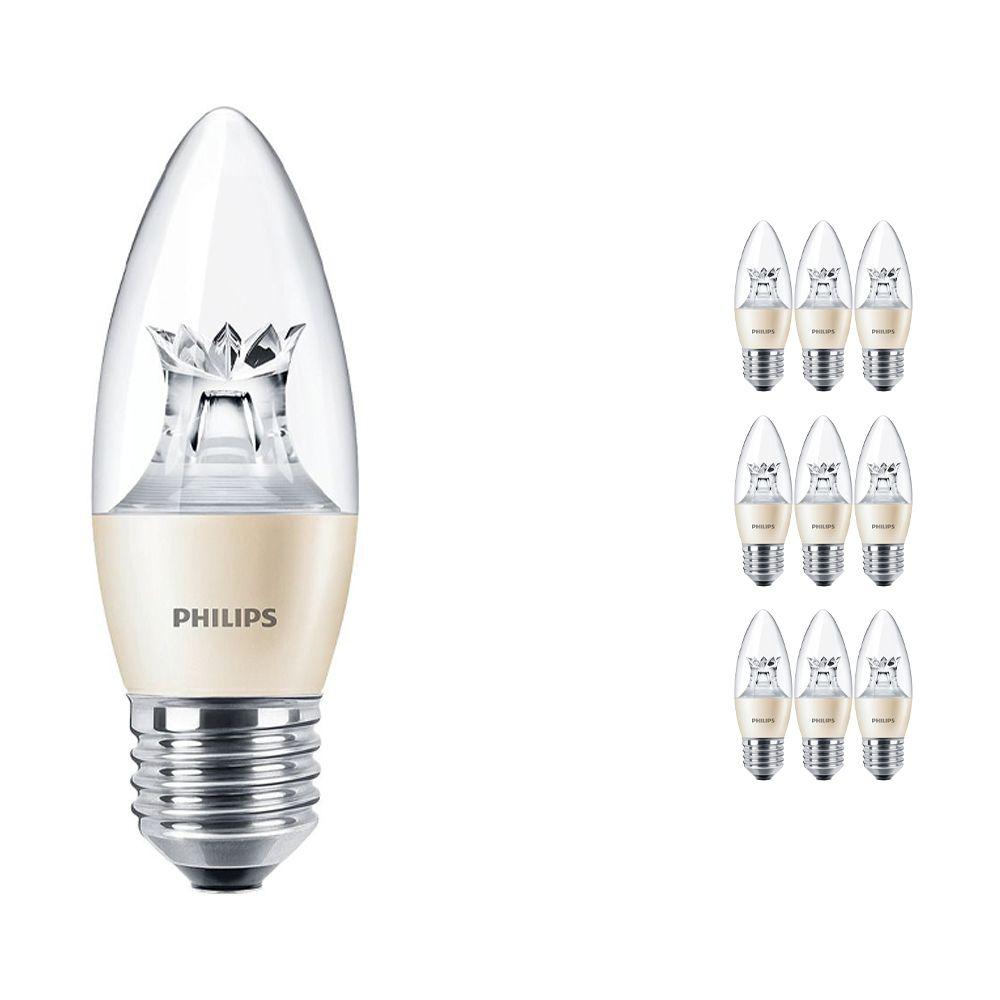 Mehrfachpackung 10x Philips LEDcandle E27 B38 6W 827 (MASTER) | DimTone Dimmbar - Ersatz für 40W
