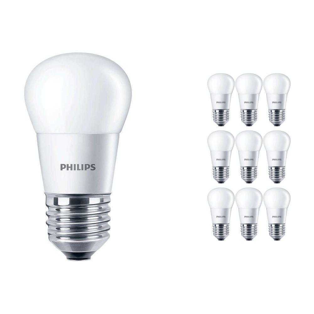 Mehrfachpackung 10x Philips CorePro LEDluster E27 P45 5.5W 827 Matt   Ersatz für 40W