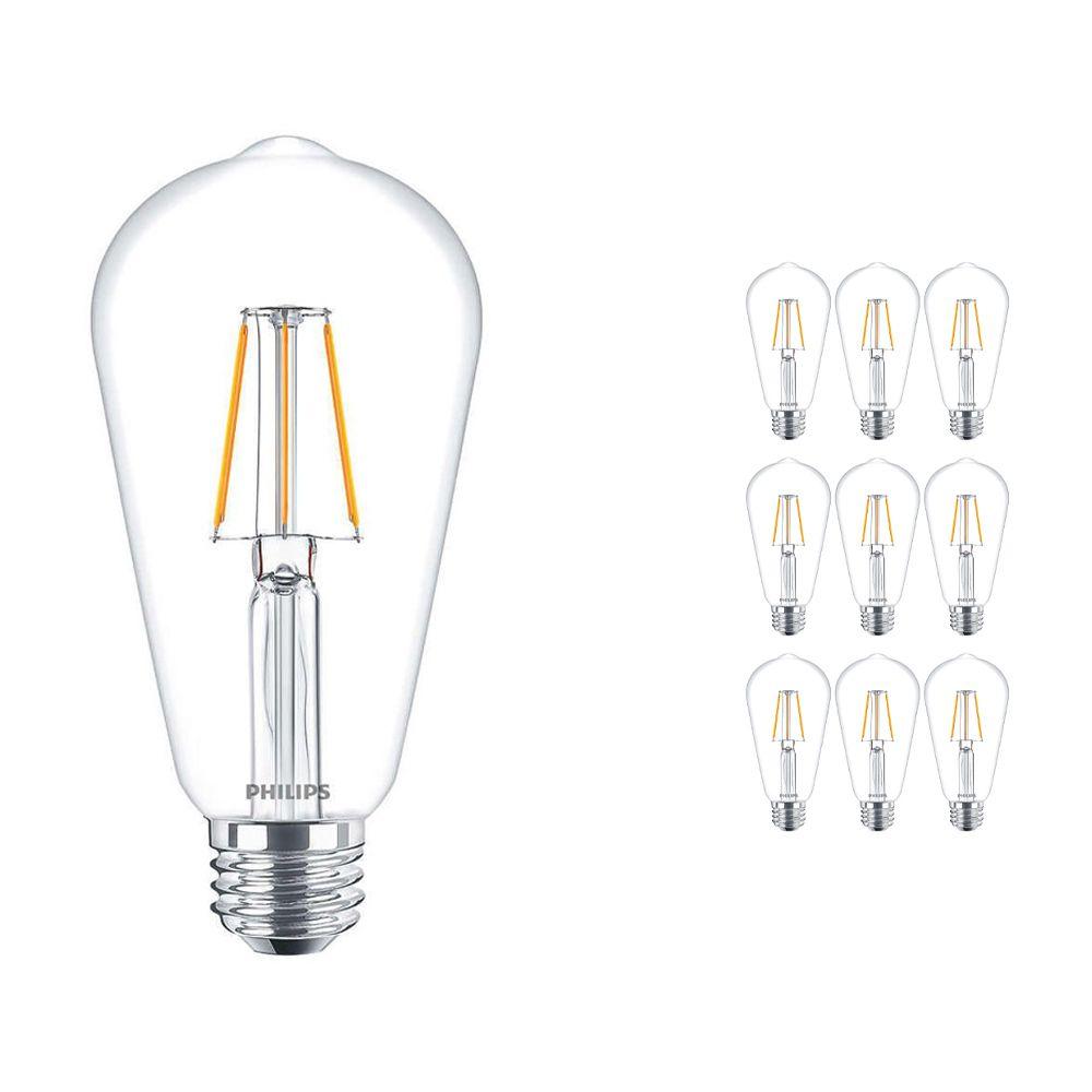 Mehrfachpackung 10x Philips klassisch LEDbulb E27 Edison 4W 827 Klar | Ersatz für 40W